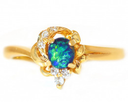 18K GOLD BLACK OPAL RING GOLD AND DIAMONDS [CR77]