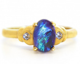 18K GOLD BLACK OPAL RING GOLD AND DIAMONDS [CR79]