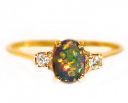 14K GOLD BLACK OPAL RING GOLD AND DIAMONDS [CR79]