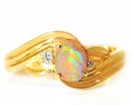18K GOLD COOBER PEDY  OPAL RING GOLD AND DIAMONDS [CR85]