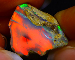 26.23Ct Bright Color Play Ethiopian Welo Opal Rough GR05