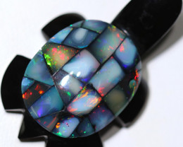 64.32 CTS FIREY  MEXICAN OPAL TURTLE CARVING [VS7382]