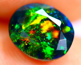 1.01cts Natural Ethiopian Smoked Faceted Black Opal / BF896