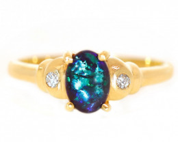 18K GOLD BLACK OPAL RING GOLD AND DIAMONDS [CR90]