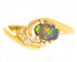 18K GOLD SEMI BLACK OPAL RING GOLD AND DIAMONDS [CR]
