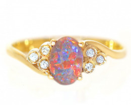 18K GOLD BLACK OPAL RING GOLD AND DIAMONDS [CR91]