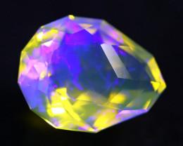 6.40Ct Designer Cutting Lightning Ridge Faceted Crystal Opal H46