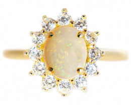 925 ST/ SILVER GOLD PLATED COBBER PEDY OPAL RING  [CR95]
