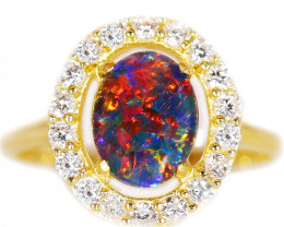 925 ST/ SILVER GOLD PLATED TRIPLET OPAL RING [CR94]