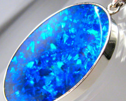 Opal Pendant Large Doublet Silver Jewelry 16.1ct Necklace C21