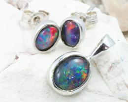 Gem Opal Triplet set in SilverPendant n  Earring  OPJ2867