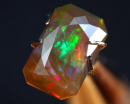 2.52Ct Rainbow Broadflash Natural Ethiopian Faceted Welo Opal H69