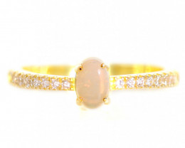 925 ST/ SILVER GOLD PLATED COOBER PEDY  OPAL RING [CR97]