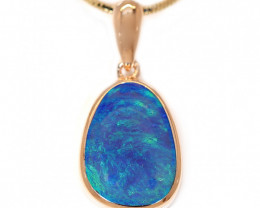925 ST/ SILVER ROSE GOLD PLATED OPAL DOUBLET PENDANT [CP115]