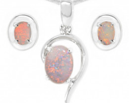 925 ST/ SILVER RHODIUM PLATED COOBER PEDY  SOLID OPAL JEWELRY SET [CSET04]