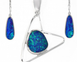 925 ST/ SILVER RHODIUM PLATED OPAL DOUBLET JEWELRY SET [CSET06]