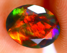 0.90cts Natural Ethiopian Smoked Faceted Black Opal / BF1072