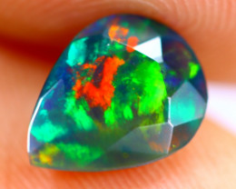 0.90cts Natural Ethiopian Smoked Faceted Black Opal / BF1080