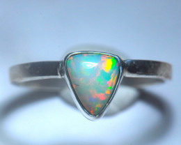 7.5sz Bright Solid Welo Natural Multicoloured Opal .925 Silver Ring