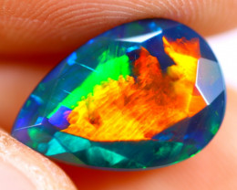 2.41cts Natural Ethiopian Smoked Faceted Black Opal / BF1111