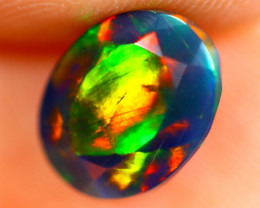 1.37cts Natural Ethiopian Smoked Faceted Black Opal / BF1112