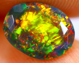 1.04cts Natural Ethiopian Smoked Faceted Black Opal / BF1124