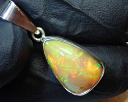 13ct Natural Ethiopian Welo Opal .925 Sterling Silver Pendant