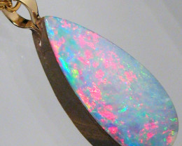 Australian Opal Doublet Pendant 14k Gold Gift 5ct