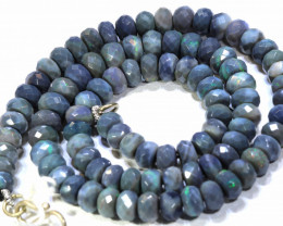 115 CTS BLACK OPAL BEADS FACETED DRILLED NECKLACE  TBO -910