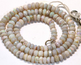 70 CTS  WHITE OPAL BEADS FACETED  DRILLED NECKLACE TBO -908