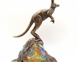 25000CTS BRONZE KANGAROO ART ON BOULDER OPAL [CA03]