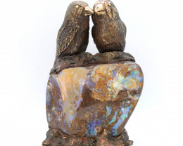 50000CTS BRONZE BIRDS ART ON BOULDER OPAL [CA01]