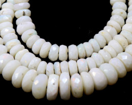 55 CTS  WHITE OPAL BEADS FACETED  DRILLED NECKLACE TBO-945