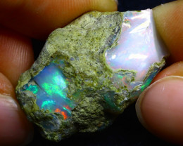 36.70Ct Multi Color Play Ethiopian Welo Opal Rough FR13