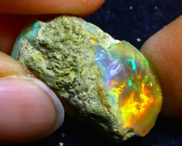 22.39Ct Multi Color Play Ethiopian Welo Opal Rough FR15