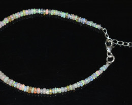 12.25 CT OPAL BRACELET MADE WITH NATURAL ETHIOPIAN BEADS STERLING SILVER OB