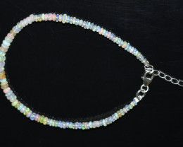 12.40 CT OPAL BRACELET MADE WITH NATURAL ETHIOPIAN BEADS STERLING SILVER OB