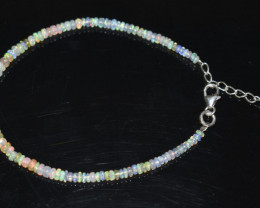 13.30 CT OPAL BRACELET MADE WITH NATURAL ETHIOPIAN BEADS STERLING SILVER OB