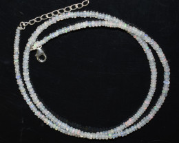 21.85 CT OPAL NECKLACE MADE WITH NATURAL ETHIOPIAN BEADS STERLING SILVER OB