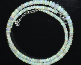 35.40 CT OPAL NECKLACE MADE WITH NATURAL ETHIOPIAN BEADS STERLING SILVER OB