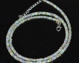 21.45 OPAL NECKLACE MADE WITH NATURAL ETHIOPIAN BEADS STERLING SILVER OBJ-1