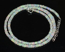 33.95 CT OPAL NECKLACE MADE WITH NATURAL ETHIOPIAN BEADS STERLING SILVER OB