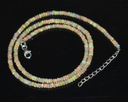 OPAL NECKLACE MADE WITH NATURAL ETHIOPIAN BEADS STERLING SILVER OBJ-117