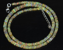 38.50 CT OPAL NECKLACE MADE WITH NATURAL ETHIOPIAN BEADS STERLING SILVER OB