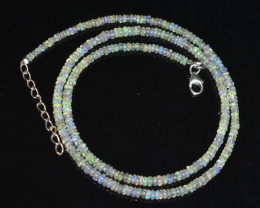 22.10 CT OPAL NECKLACE MADE WITH NATURAL ETHIOPIAN BEADS STERLING SILVER OB
