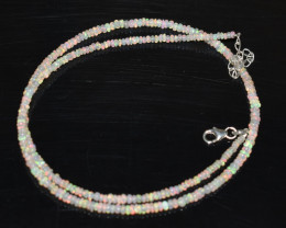 20.00 CT OPAL NECKLACE MADE WITH NATURAL ETHIOPIAN BEADS STERLING SILVER OB
