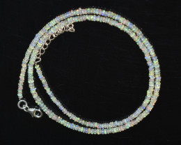 18.55 CT OPAL NECKLACE MADE WITH NATURAL ETHIOPIAN BEADS STERLING SILVER OB