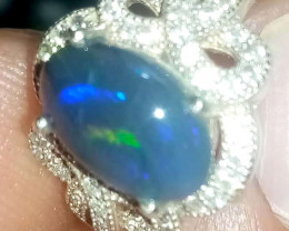 Solid 925 sterling silver ring size 8  with black opal stone from Lightning