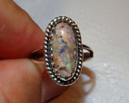 8sz Mexican Multicoloured Fire Opal Ring