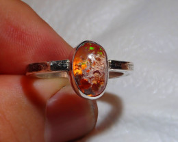 9sz Mexican Multicoloured Fire Opal .925 Sterling Ring